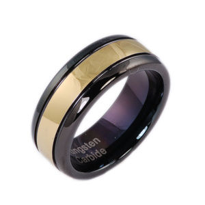 8mm 2 Tone Tungsten Mens Wedding Band Ring